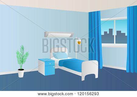 Hospital ward clinic room interior illustration vector