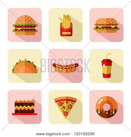 Big vector icons set of fast food