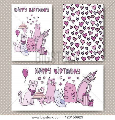 Birthday cards design with funny cats and hearts. Vector design template for card, letter, banner, m