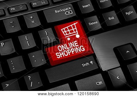 Keyboard with red online shopping theme buttons
