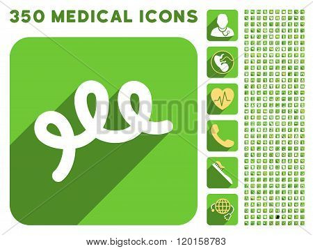 Spiral Bacillus Icon and Medical Longshadow Icon Set