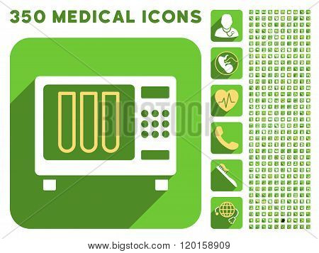 Sterilizer Icon and Medical Longshadow Icon Set