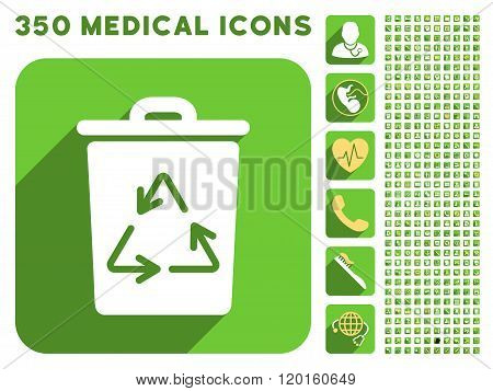 Trash Can Icon and Medical Longshadow Icon Set