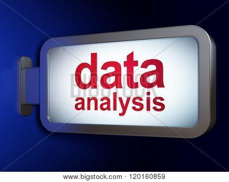 Information concept: Data Analysis on billboard background