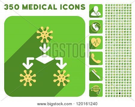 Virus Reproduction Icon and Medical Longshadow Icon Set