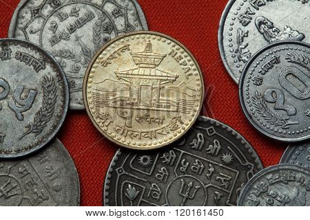 Coins of Nepal. Tal Barahi Temple (Lake Temple) in Pokhara, Nepal depicted in the Nepalese one rupee coin.