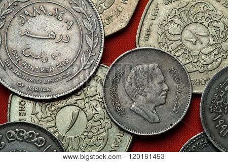 Coins of Jordan. King Hussein bin Talal of Jordan depicted in the Jordanian 25 fils coin.