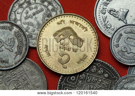Coins of Nepal. Nepalese commemorative two rupee coin dedicated to the 1998 Visit Nepal Year.