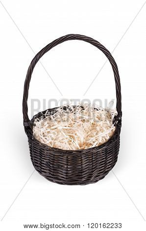 Wicker Basket With Hay