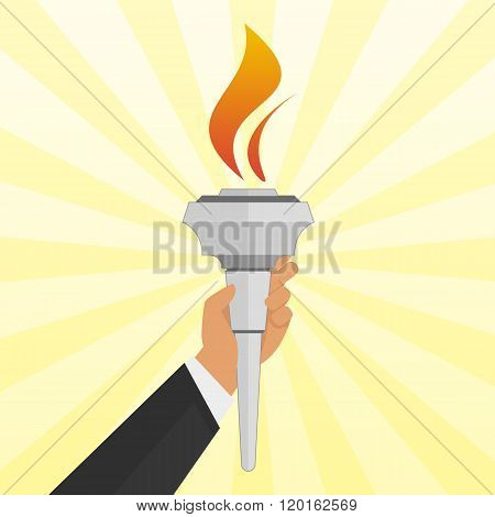 Torch in hand.
