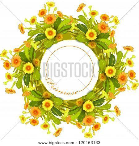 Orange yellow primroses wreath.