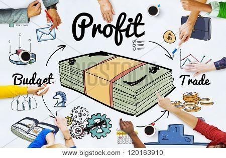 Profit Gain Gross Income Benefit Money Revenue Concept