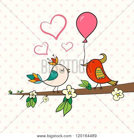 Cute Bird Couple On Blossom Branch. Doodle Vector Illustration