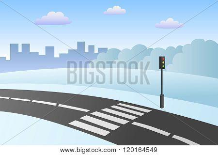 Crosswalk road landscape winter day illustration vector