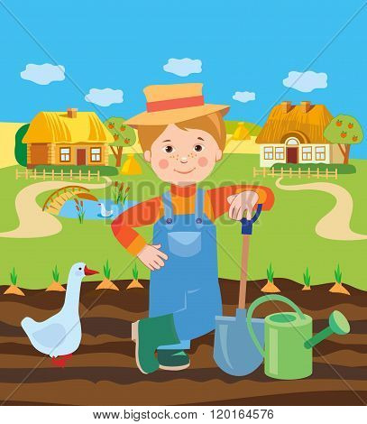 Cartoon Young Farmer Working In The Farm. Village Landscape. Vector Illustration. Farmer Working.