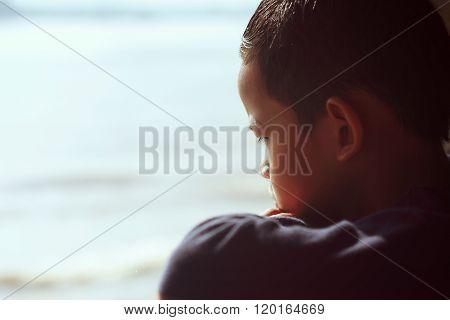 Dreamy Boy On Beach
