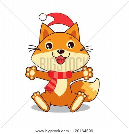 Funny Fox Wished A Happy New Year. Christmas Characters. Small Fox. Vector Fox. Fox Sitting. Vector Illustration. Fox In Winter. Small Fox Plush. Small Fox Stickers. Small Fox Toy. Small Fox Pet.