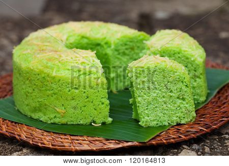 Pandan chiffon cake Traditional Indonesian desert Stone background