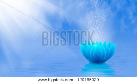 Image Of A Stylized Lotus Flower On The Water