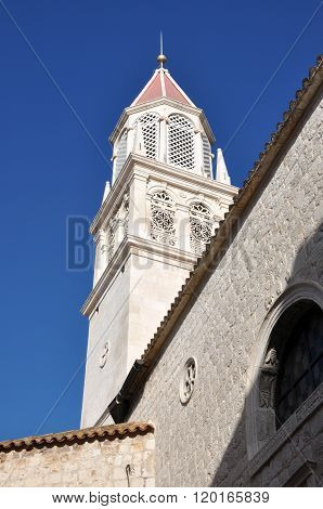 Bell Tower Of The Catholic Cathedral In Trogir, Croatia