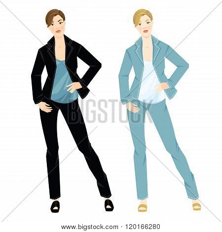 Vector illustration of different color suits