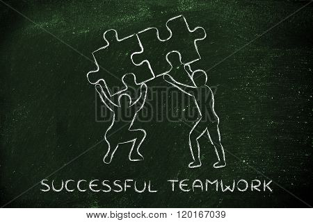 People Lifting Matching Pieces Of Puzzle, Successful Teamwork