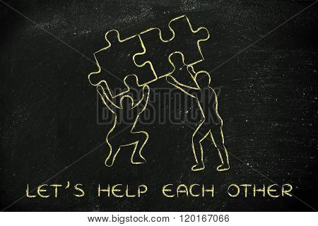 People Lifting Matching Pieces Of Puzzle, Let's Help Each Other