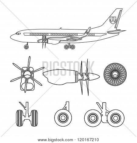 Jets Constructor. Outline Silhouettes Aircraft Parts. Collection Of Symbols For The Repair Of Aircra