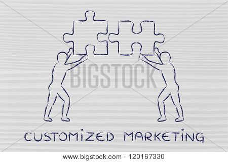 People With Matching Pieces Of Puzzle, Customized Marketing