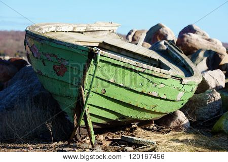 Green Wooden Boat