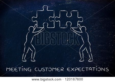 People With Matching Pieces Of Puzzle, Meeting Customer Expectations