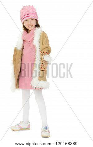 Girl in winter fur coat