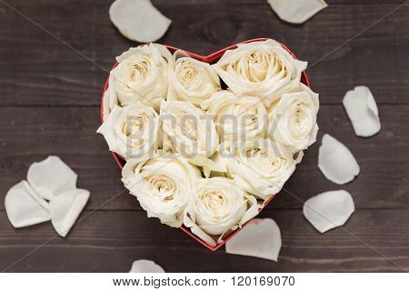 White Roses Flower Are In The Heart Box