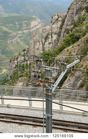 Railway Contact Line In Montserrat Abbey Near Barcelona, Catalonia, Spain.