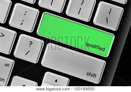 The Computer Keyboard Button Written Word Qualified