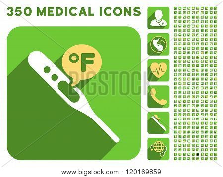 Fahrenheit Temperature Icon and Medical Longshadow Icon Set