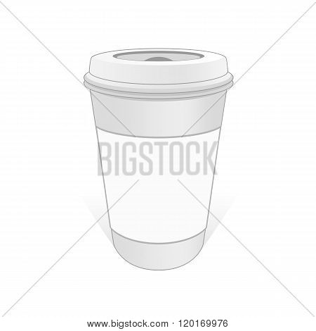 White cup of coffee with the label.