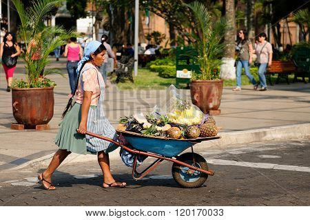 Native American From Bolivia Selling Fruits From The Wheelbarrow On City Streets