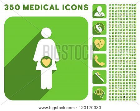 Fertility Icon and Medical Longshadow Icon Set
