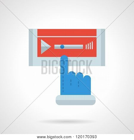 Media player flat color design vector icon