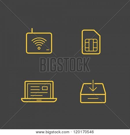 Wireless service provider linear icons. Vector icons