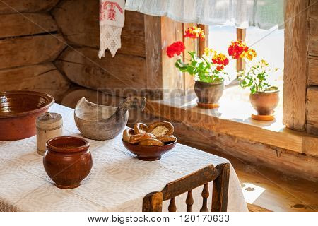 Interior Of Old Rural Wooden House In The Museum Of Wooden Architecture Vitoslavlitsy
