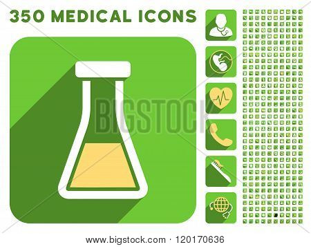 Flask Icon and Medical Longshadow Icon Set