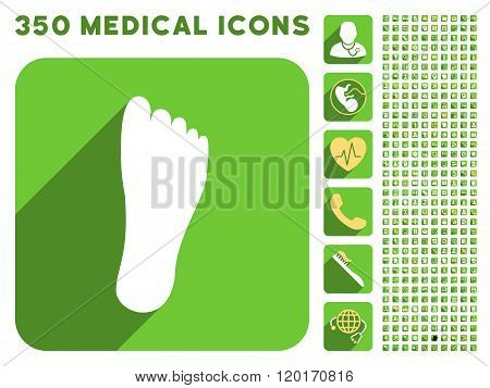 Foot Sole Icon and Medical Longshadow Icon Set
