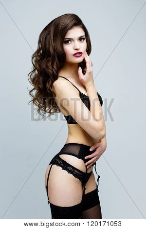Sexy woman in black lingerie