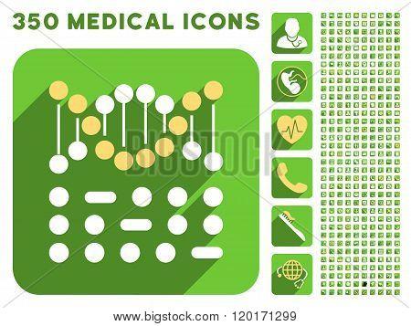 Genetic Code Icon and Medical Longshadow Icon Set