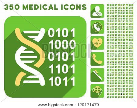 Genome Code Icon and Medical Longshadow Icon Set