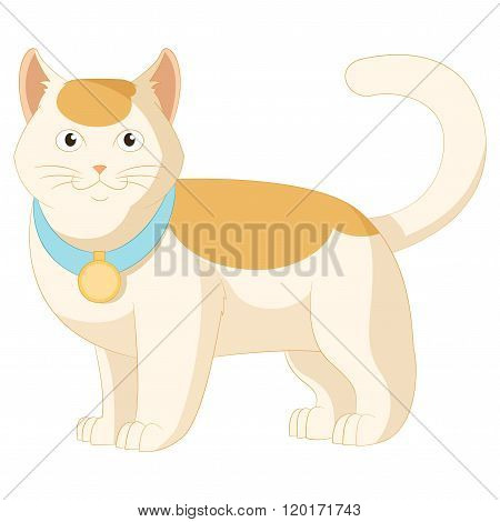 Cartoon white and orange cat