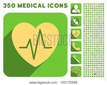 Heart Ekg Icon and Medical Longshadow Icon Set