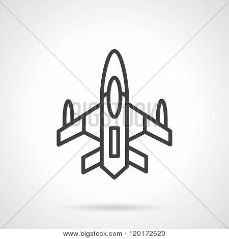 Military aircraft black line design vector icon